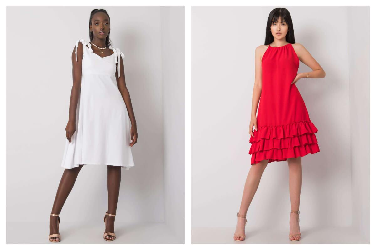 Dwie sukienki na ramiączkach z falbaną w kolorze białym i czerwonym
