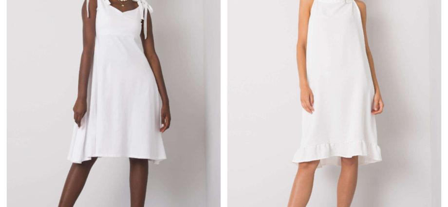 sukienki na ramiączkach midi w białym kolorze
