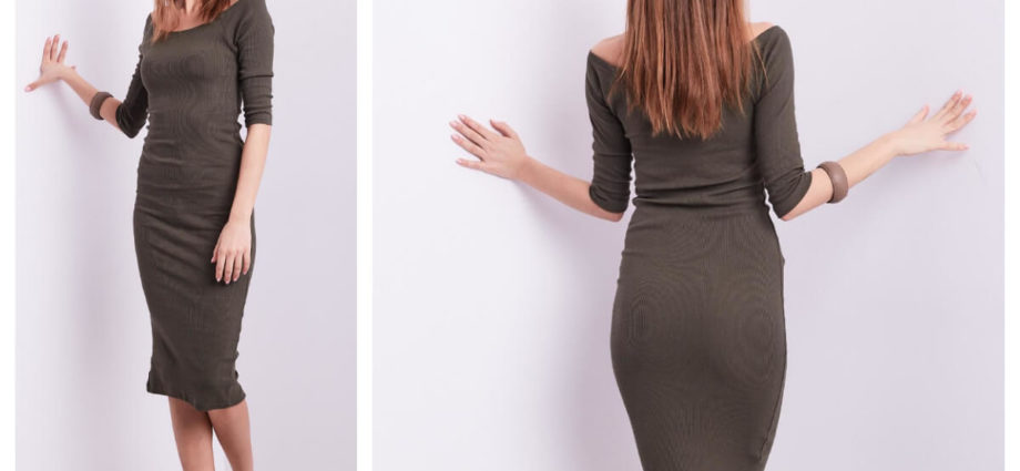Dopasowana sukienka hiszpanka midi w kolorze khaki