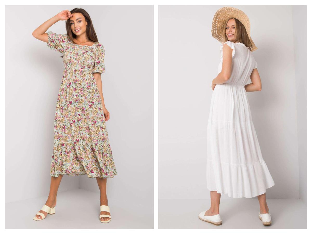 Sukienka maxi z falbanami w białym kolorze