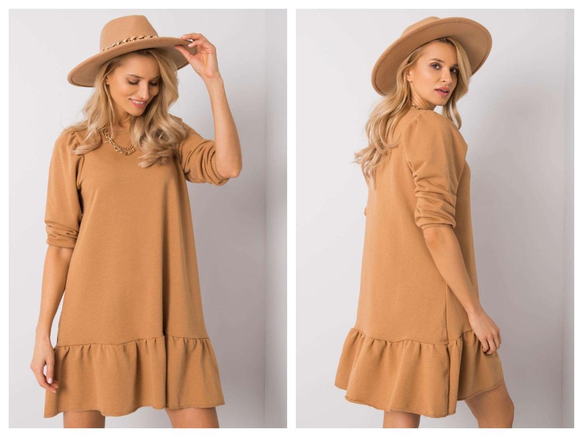 Luźna sukienka basic z falbaną